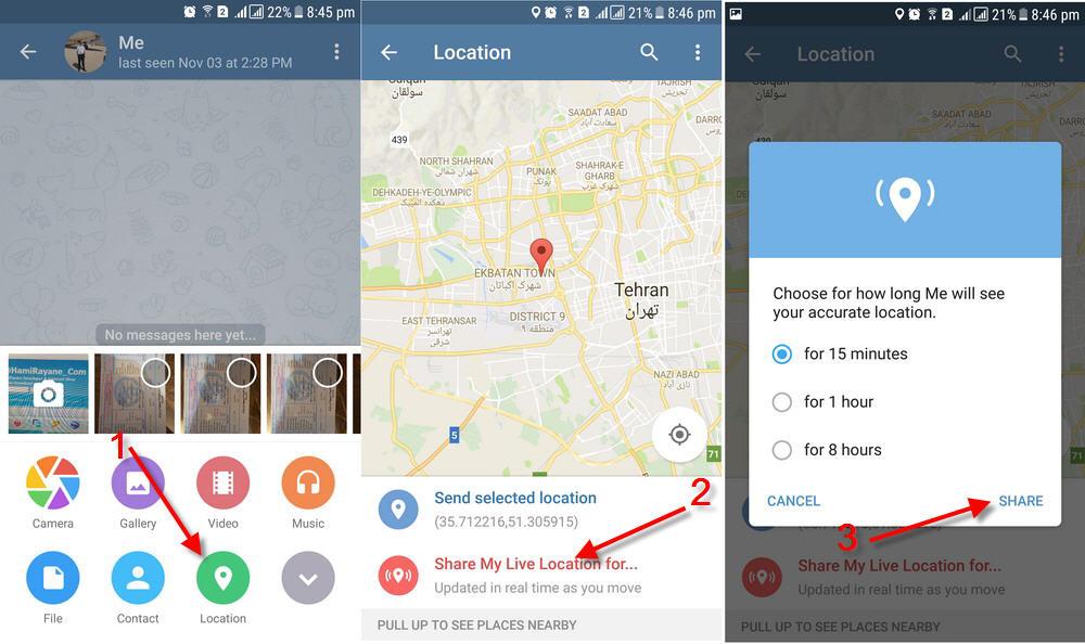 آموزش ارسال موقعیت زنده در تلگرام