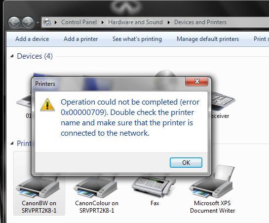 رفع خطای Operation could not be completed error 0x00000709 در پرینتر