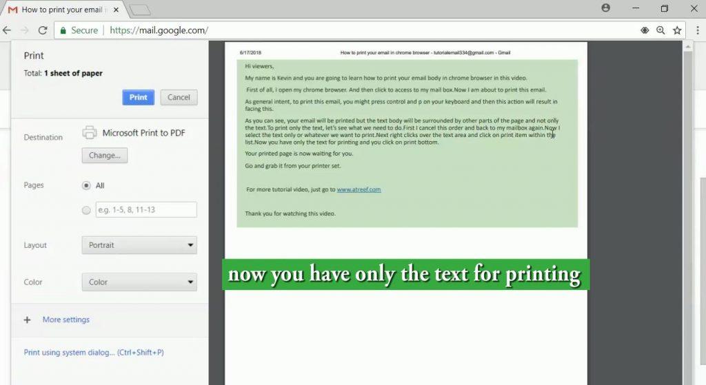 چاپ مستقیم متن ایمیل در کروم بجای چاپ کل صفحه