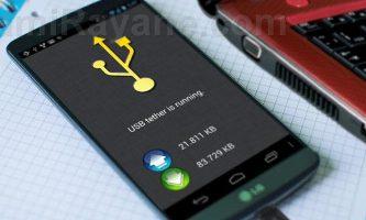 انتقال اینترنت گوشی به کامپیوتر با کابل usb